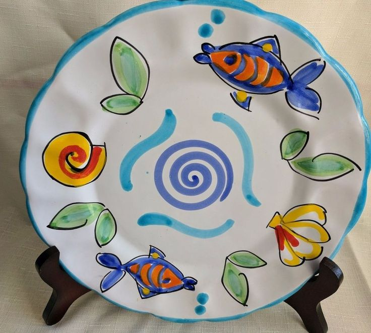 "R. H. Macy's & Co. - The Cellar - Ceramic Dish 10"" - hand painted with fish. Made in Italy. Excellent condition, no chips, cracks or crazing. 
