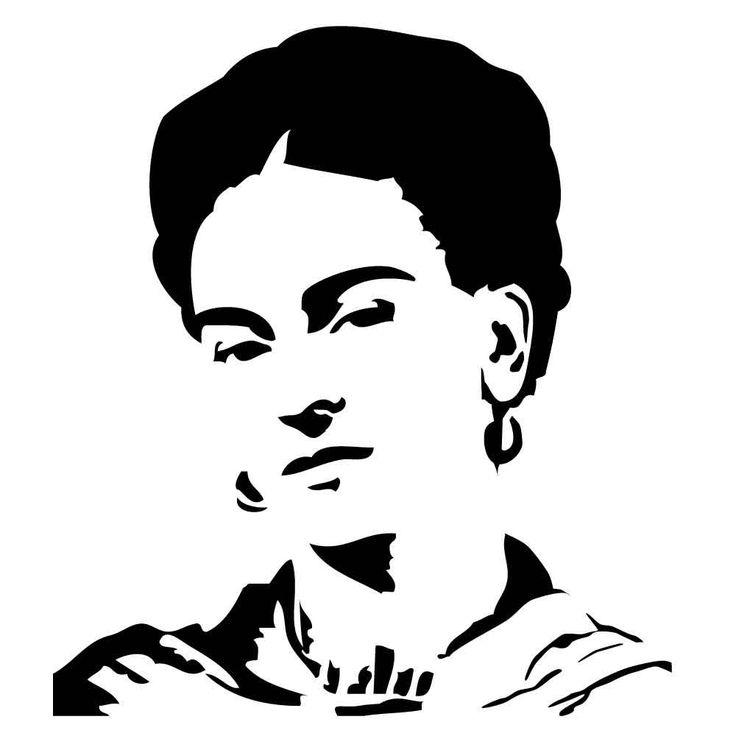 Painter Frida Kahlo on reusable laser-cut craft stencil
