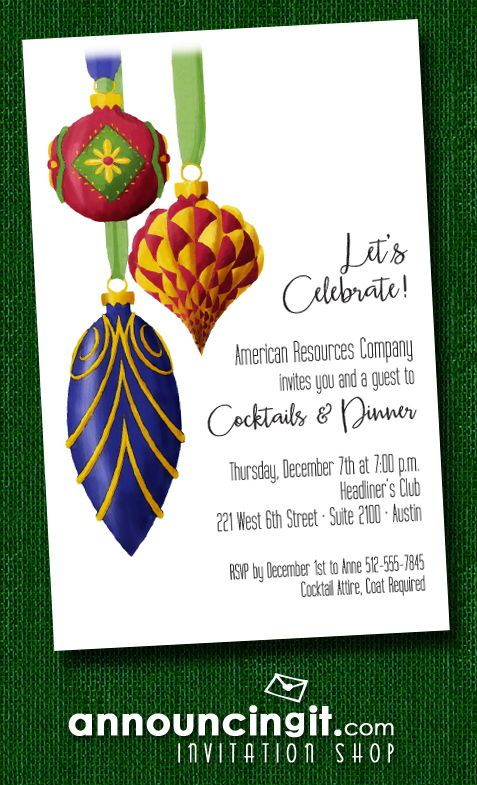 Ornate Christmas Tree Ornaments Holiday Invitations in 2018 ...