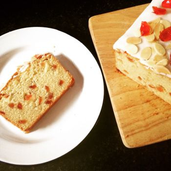 Cherry Bakewell Maderia Cake Inspired by 'The Great British Bake Off'