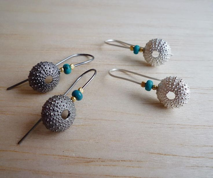 Sterling Silver & Black Platinum Plated Sea Urchin Stud Earrings with Turquoise