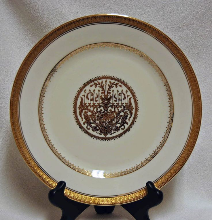 Mikasa Jewish Hanukkah Fine China FESTIVAL of LIGHTS GOLD Plate - Mint! #Mikasa