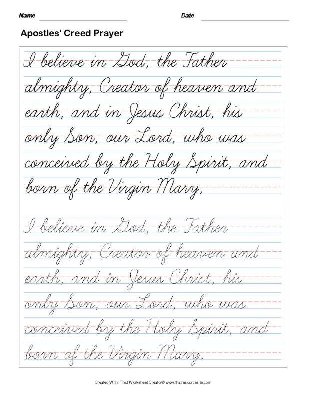 Trace the Apostles' Creed Prayer in Cursive Set