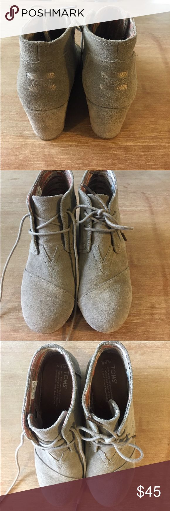 Women's TOMS wedges size 8.5 suede leather nice! Women's TOMS light suede leather wedges size 8.5 great condition TOMS Shoes Ankle Boots & Booties
