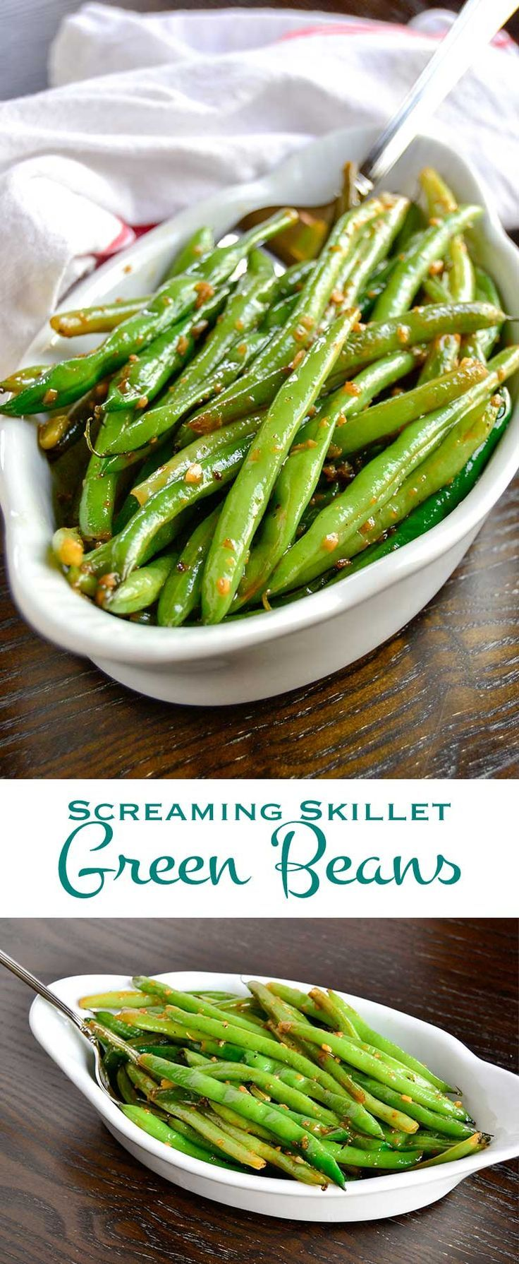 Screaming skillet green beans get their name from the screaming hot skillet used to cook them. Laced with garlic and the fruity citrus notes of white wine, they make a great summer side dish. Vertical images combined for pinterest.