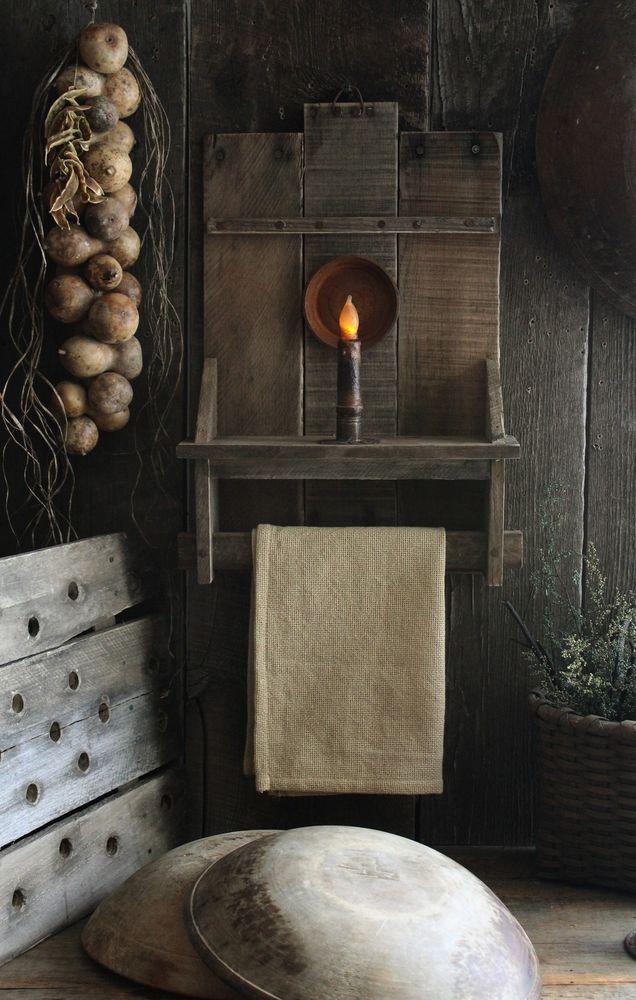 Primitive Early Homestead Look Wood Wall Rack Shelf w/Battery Taper & Towel