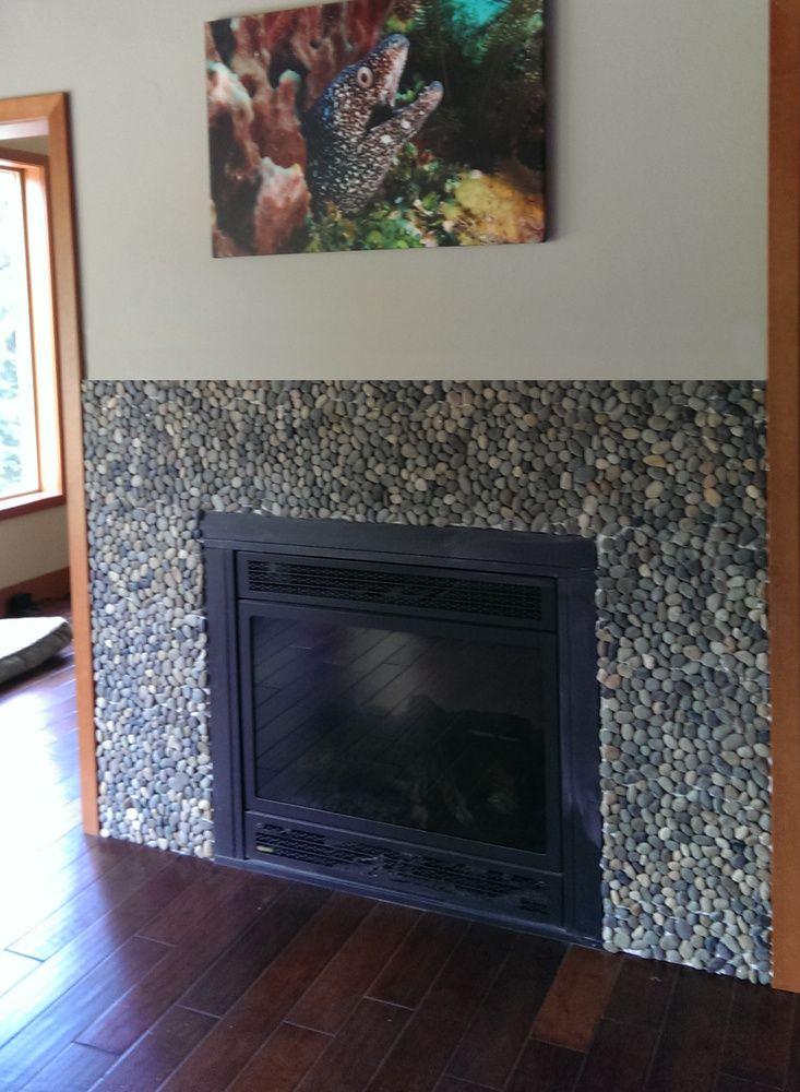 Large Bali Ocean Pebble Tile Fireplace Surround Am