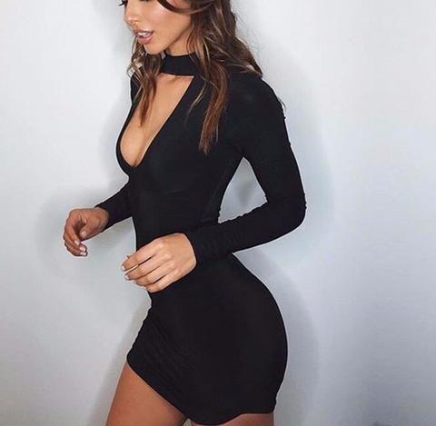 Basic Choker Black Dress