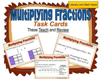 These task cards teach students how to multiply fractions and teach students how to deeply understand this concept too.  These task cards get to the heart of math assessments by teaching students how to deeply understand what it means to multiply fractions. Math problems are presented as expressions and word problems to help students understand different contexts in which multiplying fractions apply.  This is a great resource for test prep and review.$