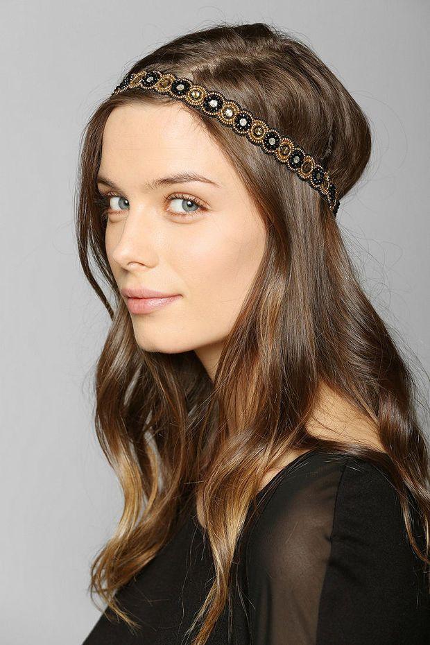 Deepa Gurnani Black & Gold Headwrap - Urban Outfitters
