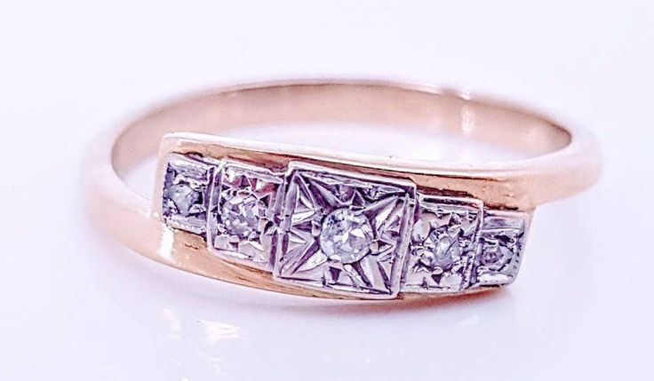 Art Deco Vintage Ladies Wrap Around Diamond Engagement Ring in 9 ct Yellow and White Gold FREE POSTAGE Included by GloryBeVintageWares on Etsy