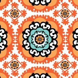Annette Tatum - Boho - Medallion in Orange. (Living room - throw pillows. Or chairs)