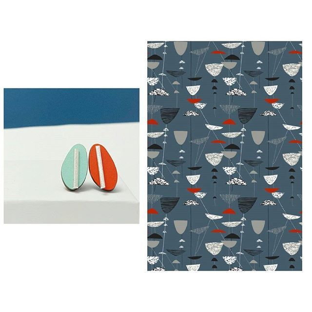 When I first went to art college I thought I would become a textile designer, and I still love Lucienne Day's work including this Calyx design. You can see how it was an inspiration for my Spectra reversible ear studs which are made from silver and formica.  #inspiration #jewellery #jewelry #handmadejewellery #silverjewellery #earrings #lucienneday #fabricdesign #contemporaryjewellery #textiledesign #colour #pattern