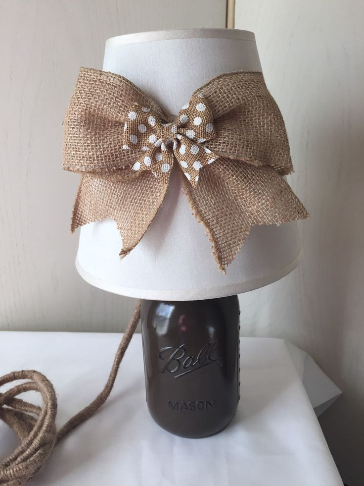 Mason Jar Lamp Mason Jar Light Mason Jar Lamp with Burlap Bow Shade House Warming Gift Gift for Her Mason Jar Decor  Painted Mason Jar