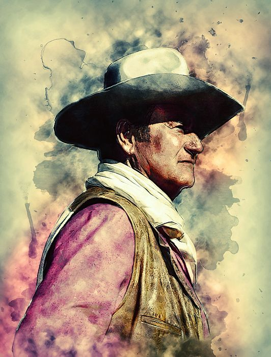 John Wayne Western Cowboy Portrait Digital Painting Illustration Colorful Splashes Watercolor Poster W John Wayne Art Prints Digital Art Illustration