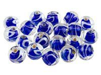 Fancy Glass Round Royal Blue Beads 8mm, Pack Of 50