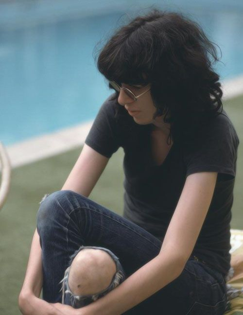 A candid shot of a very fragile looking Joey Ramone