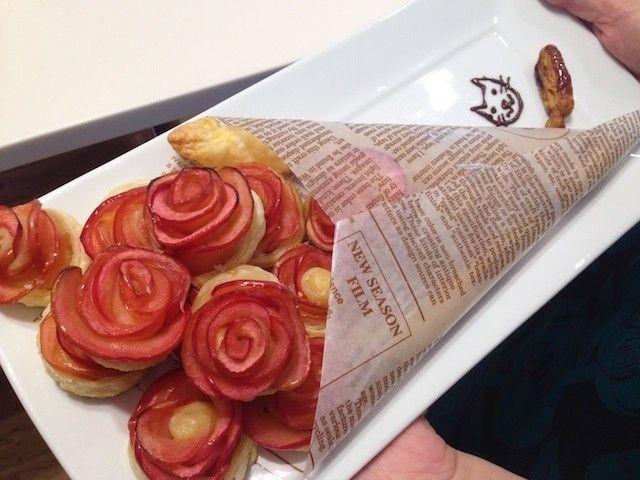 【つくった】話題の薔薇のアップルパイ。