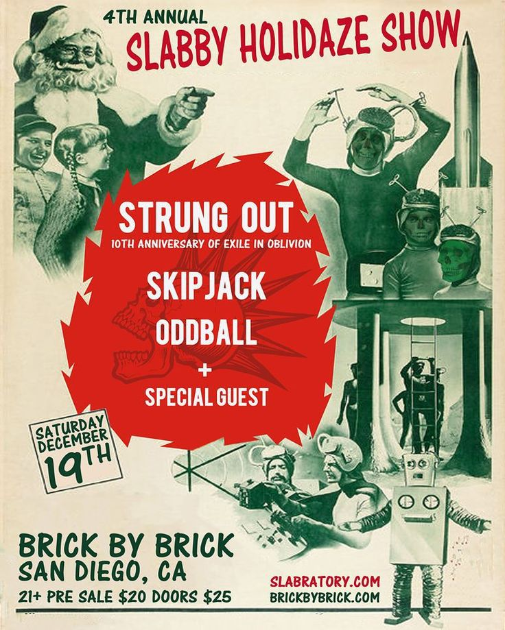 "Tickets on sale now! Saturday December 19th Slabratory Clothing presents the 4th Annual Slabby Holidaze show taking place at @BrickbyBrickSD . @strungout will be performing "" Exile in Oblivion "" in it's entirety to celebrate the albums 10th anniversary! Plus a very special guest performer tba as well as local support from @SKIPJACKpunk & @oddballmusic Don't wait on this one! #slabratory #slabratoryclothing #music #family #friends #punkrock #SanDiego #jimbophillips #sdpunk #skateboard #surf…"