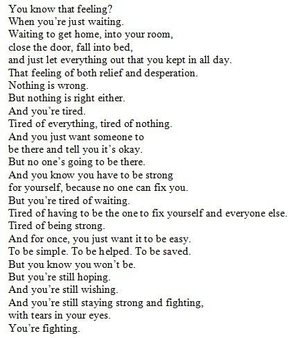 Just wait to get home everyday so I can get away from overthinking & analyzing every little thing.