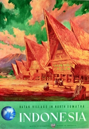 Indonesia, c.1950 - original vintage poster by Victor J Trip listed on AntikBar.co.uk