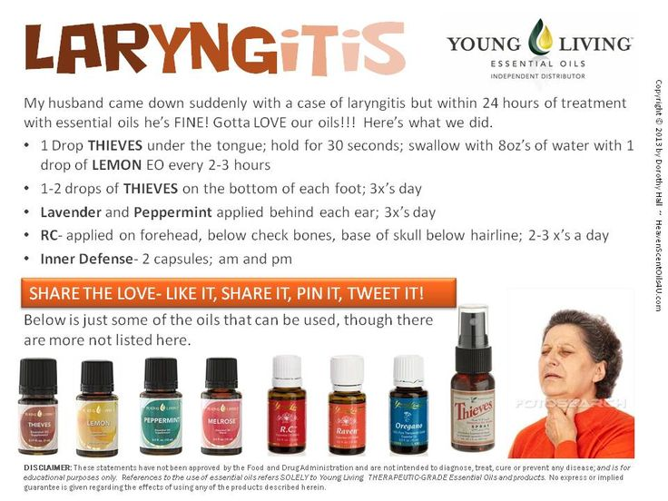 #Laryngitis Resolved Within 24 Hours Using Essential Oils! LEARN MORE and ORDER HERE: HeavenScentOils4U... #yleo #youngliving #essentialoils #heavenscentoils4u #natural #remedies