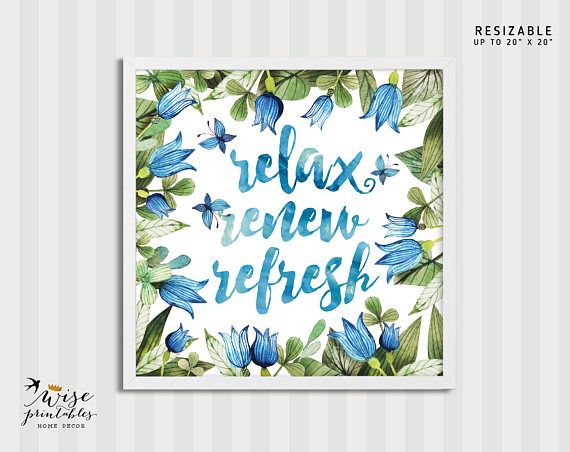 Bathroom decor sign Relax Renew Refresh Calligraphy
