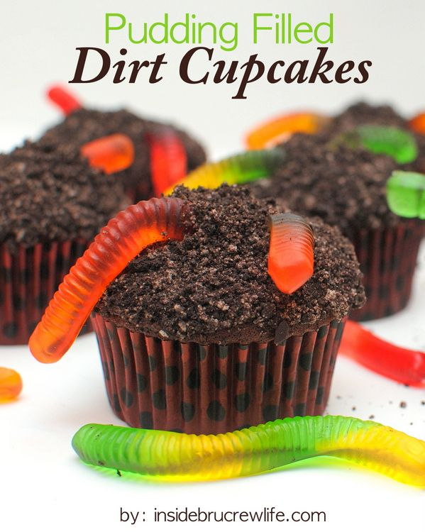 Pudding Filled Dirt Cupcakes Recipe ~ chocolate cupcakes with a pudding center and cookie crumbs and gummy worms on top