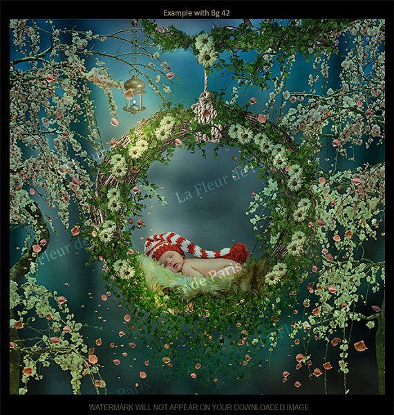 N digital 42, Fondo, apoyo para foto, montajes de telón de fondo. Descarga inmediata. Swing con enredaderas, flores, margaritas, manta para recién nacido, niño #digital #backdrop #prop #photo #photography #composite #fairytale #fairy #magic #newborn #children #child #fairymagicchest