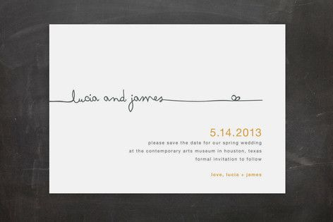 save the date idea. Like the script type font juxtaposed with the clean fonts.