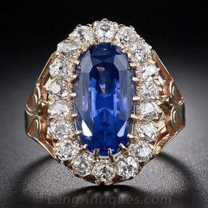 10.66 Carat No-Heat Ceylon Oval Sapphire and Diamond Antique Ring