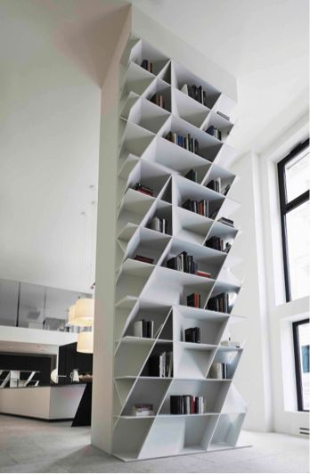WEB bookcase, designed by Daniel Libeskind, is the perfect portrait of modern life using DuPont™ Corian®.