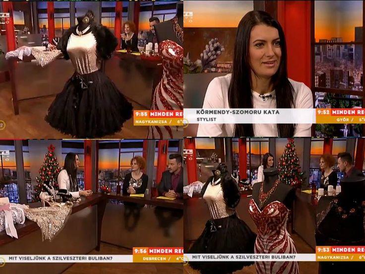 """Miben bulizzunk szilveszterkor? Ma az RTL reggeli műsorában Körmendy-Szomoru Kata Menyasszony Stylist / Bridal Stylist mutatott pár ötletet  Külön kiemelnénk Teszári Nóra egyik mondatát:  """"Ez a pörge szoknyás, nekem ez jön be a legjobban""""   A teljes riportot itt nézhetitek meg : http://bit.ly/1AyfFJq"""