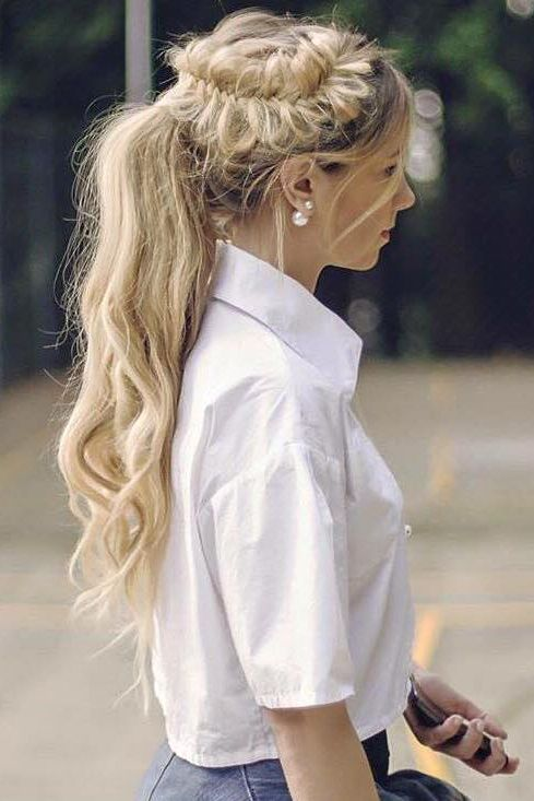 """Unique Braided Ponytail Hairstyle on @kassinka who is using her 24"""" Ash Blonde Luxy Hair Extensions. We can't get enough of this creative look! ❤ #LuxyHairExtensions"""