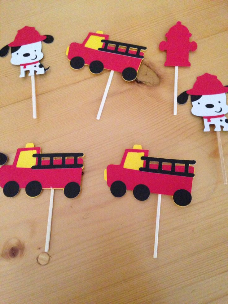 Set of 12 fire truck fire dog fire hydrant cupcake toppers birthday party or baby shower by pinktreepapers on Etsy https://www.etsy.com/listing/169388304/set-of-12-fire-truck-fire-dog-fire