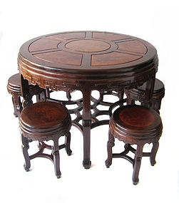 Chinese Antique Round Burl Hardwood Table And 6 Stools