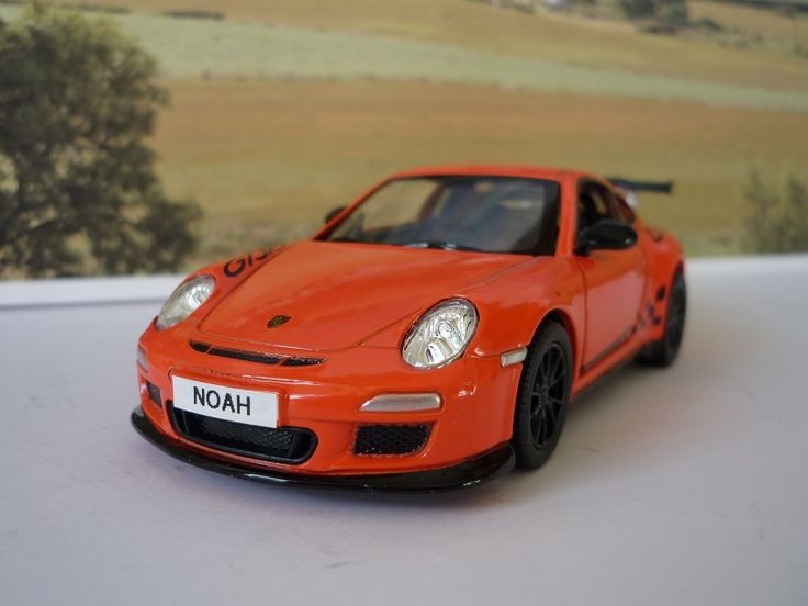 Personalised Plates Gift 2010 Orange Porsche 911 Boys Toy Car