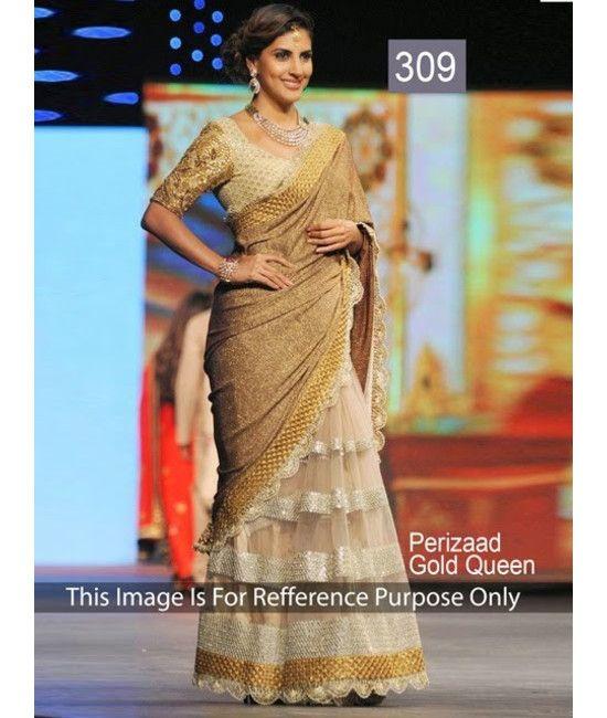 Bollywood Designer Perizaad Ramp Gold Saree