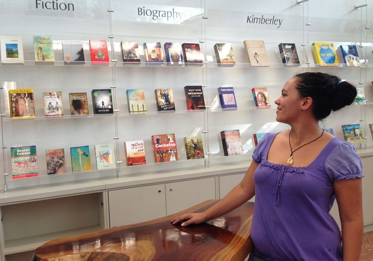 Ana strikes an elegant pose in front of our new display at the Broome Visitor Centre...