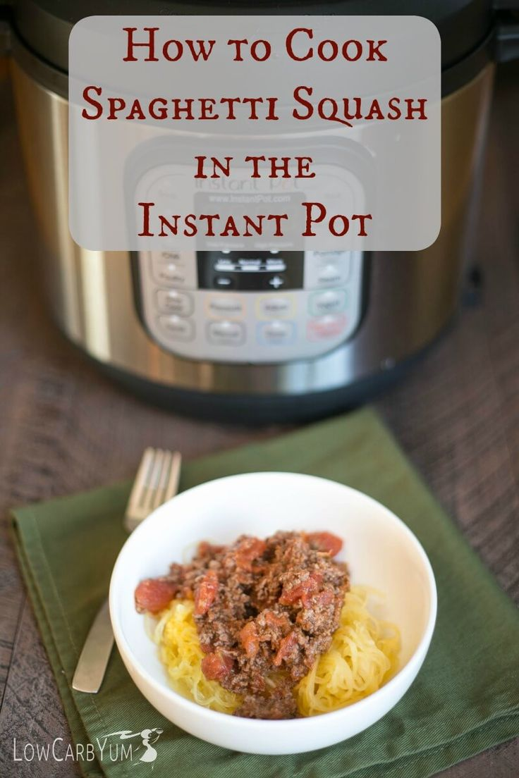 How to cook spaghetti squash in the Instant Pot including an easy low carb keto Whole30 spaghetti squash with meat sauce recipe | LowCarbYum.com