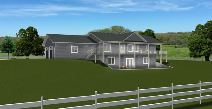 House Plan 2014822 Bungalow With Walkout 2 Car Side Garage Front Pillars Covered Front Deck Basement House Plans Craftsman Style House Plans House Plans