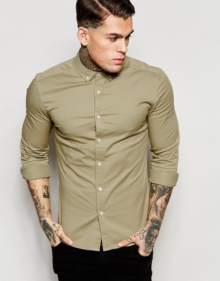 Image 1 of ASOS Skinny Shirt in Stone Twill with Long Sleeves