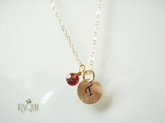 Birthstone necklace personalized necklace by Raquelchelouche