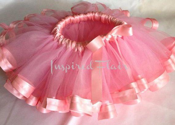 Custom Made Satin Ribbon Edged Pink Tutu Skirt Baby Girl