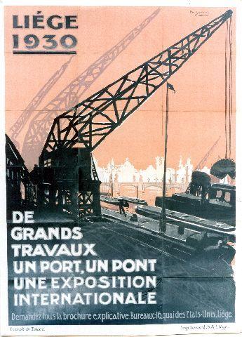 Dupuis - Liège 1930 de grands travaux - 1930 vintage poster