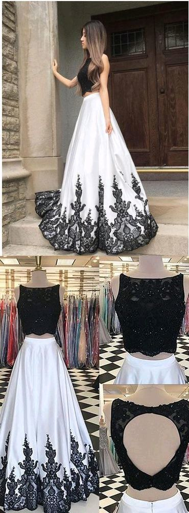 Two Pieces A-Line O-Neck Prom Dresses,Long Prom Dresses,Cheap Prom Dresses, Evening Dress Prom Gowns, Formal Women Dress G063