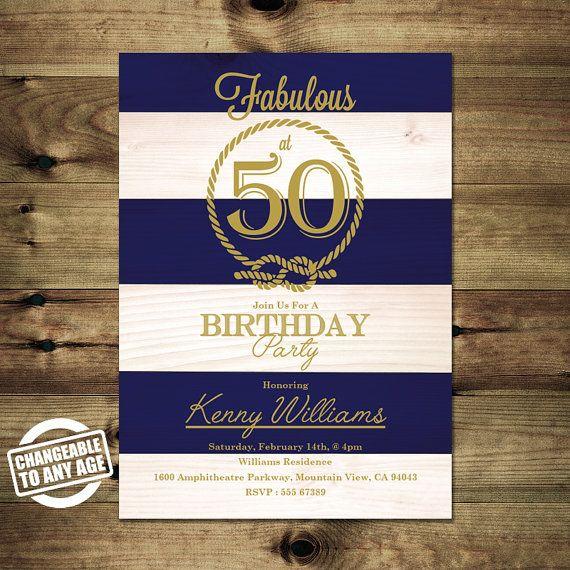 Nautische 50. Geburtstag Einladung  Erwachsene von PapierMignonID