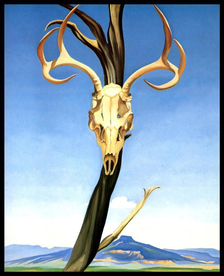 1936 okeeffe print deers skull with etsy