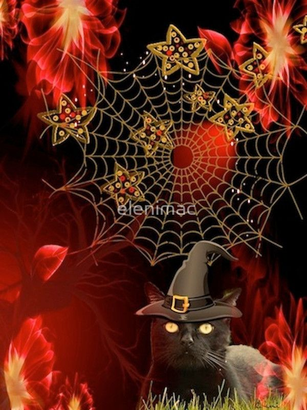'HALLOWEEN CAT IN HAT'  Abstract Digital Painting of a Black Cat dressed up for Halloween.