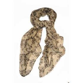 Large scarf - Tokyo by Vita Gottlieb  from Miratis.com.  Large micro-modal and cashmere scarf with 'Tokyo' print. This scarf is deliciously soft and is suitable for all seasons. The design is hand drawn with graphite and pen and ink, with hand-painted motifs threaded through. Printed in Como, Italy, and hand finished in the UK. Finish: Two edges are fringed and two are hand-rolled. Size: 140 x 140cm Composition: 90% micromodal, 10% wool